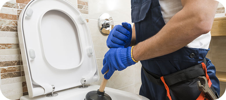 A technician provides excellent plumbing service by unclogging a toilet.